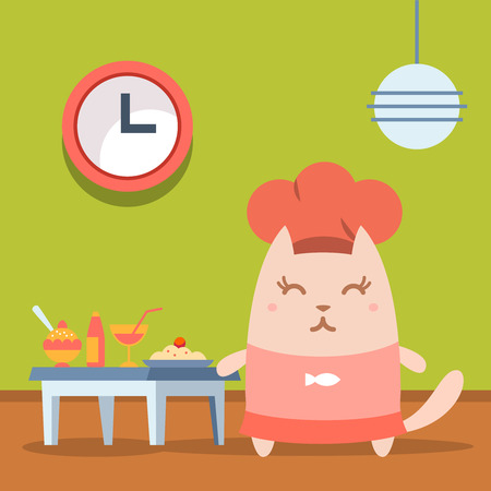 Character chef in a chefs hat  colorful flat. Cat female stands in a cafe near the table with food Vector