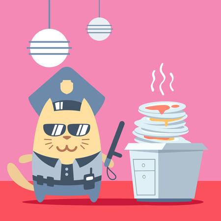 unwashed: Character police in officers cap and in the form of police with a official stick colorful flat. Cat male stands in the kitchen near a pile of dirty dishes holding a official stick Illustration