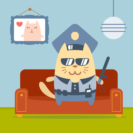 homely: Character police in officers cap and in the form of police with a official stick colorful flat. Cat male sits on a couch in a comfortable flat holding a official stick