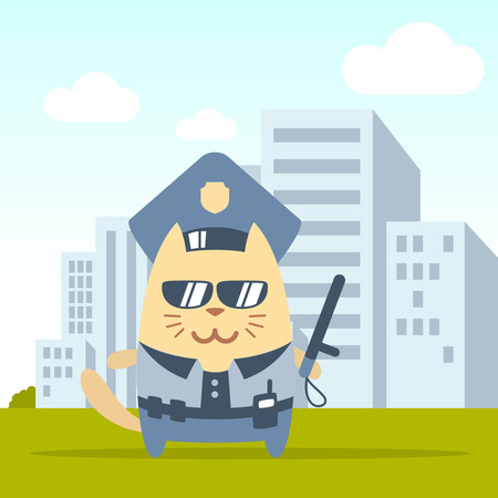 Character police in officers cap and in the form of police with a official stick colorful flat. Cat male stands on the street outside the city holding a official stick Vector