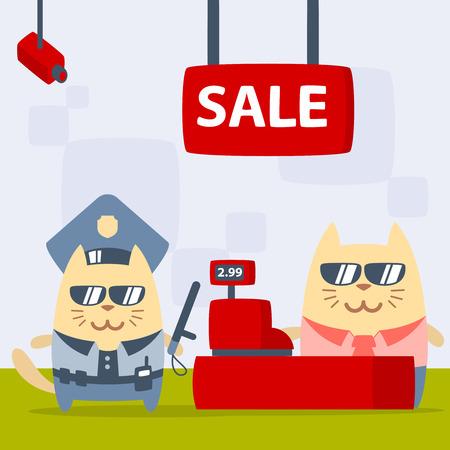 money cat: Polic�a de caracteres en una gorra de oficial y en la forma de la polic�a con un palo oficial colorido plana. Masculino Gato se encuentra en la tienda cerca de la caja registradora con un palo oficial Vectores