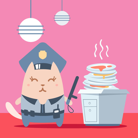 unwashed: Character police in officers cap and in the form of police with a official stick colorful flat. Cat female stands in the kitchen near a pile of dirty dishes holding a  official stick