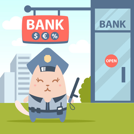 money cat: Character police in officers cap and in the form of police with a official stick colorful flat. Cat female stands near the entrance to a bank outside holding a   official stick Illustration