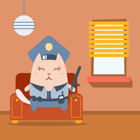 arm chair: Character police in officers cap and in the form of police with a official stick colorful flat.  Cat female sits on an arm  chair in the apartment holding a   official stick