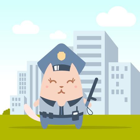 Character police in officers cap and in the form of police with a official stick colorful flat. Cat female stands on the street outside the city holding a  official stick Vector