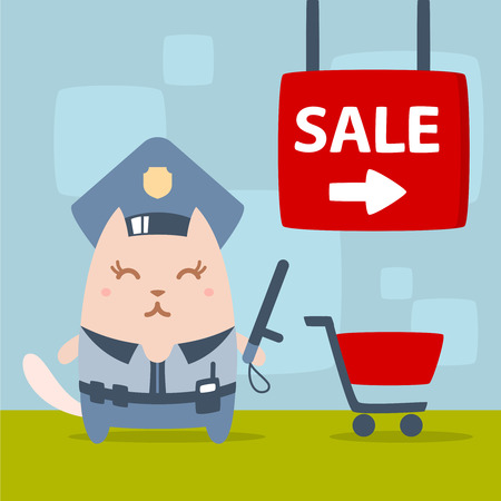 money cat: Character police in officers cap and in the form of police with a official stick colorful flat. Cat female stands in the store near the shopping cart holding a  official stick Illustration