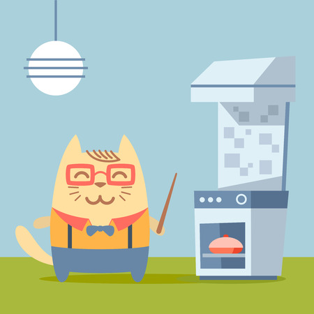 Character teacher in a business suit with suspenders colorful flat. Cat male stands in the kitchen near the stove holding a  pointer Illustration