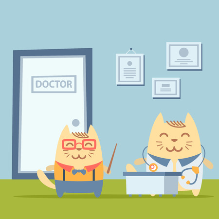 cartoon hospital: Character  teacher in a business suit with suspenders colorful flat. Cat male stands the doctors office at the table  holding a   pointer Illustration
