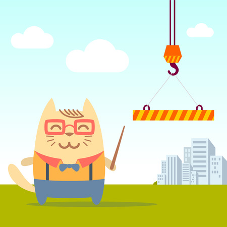 cat suit: Character teacher in a business suit with suspenders colorful flat. Cat male stands near the crane on the street  holding a   pointer Illustration