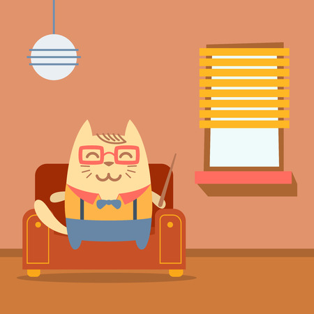 arm chair: Character teacher in a business suit with suspenders colorful flat.  Cat male sits on an arm  chair in the apartment holding a   pointer