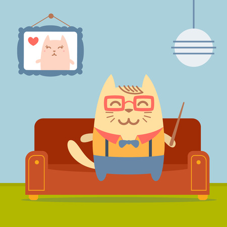 comfortable: Character teacher in a business suit with suspenders colorful flat.  Cat male sits on a couch in a comfortable flat holding a   pointer Illustration