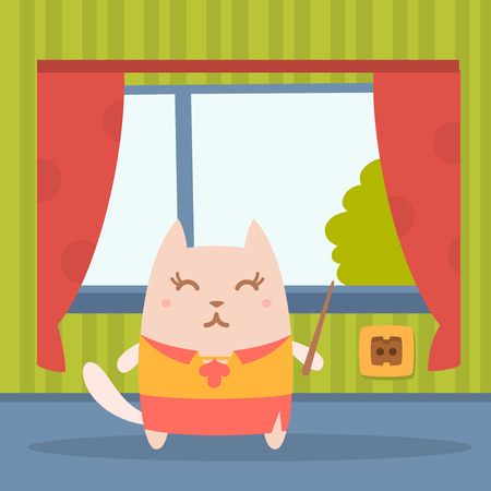 comfort classroom: Character  teacher in a woman business suit colorful flat. Cat female stands in a residential apartment near the window holding a pointer