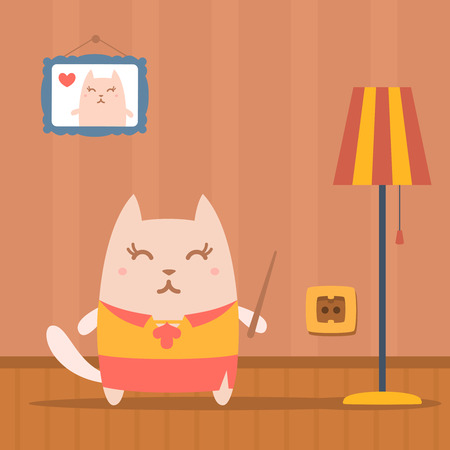 comfort classroom: Character  teacher in a woman business suit colorful flat. Cat female stands in apartment near the lamp holding a pointer