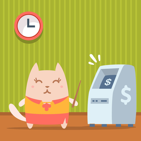 bankomat: Character   teacher in a woman business suit colorful flat. Cat female stands indoors near ATM  holding a pointer