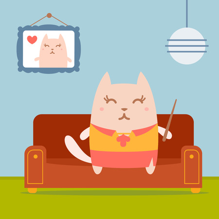 comfort classroom: Character  teacher in a woman business suit colorful flat.  Cat female sits on a couch in a comfortable flat holding a pointer
