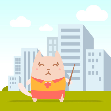 cat suit: Character  teacher in a woman business suit colorful flat. Cat female stands on the street outside the city  holding a pointer