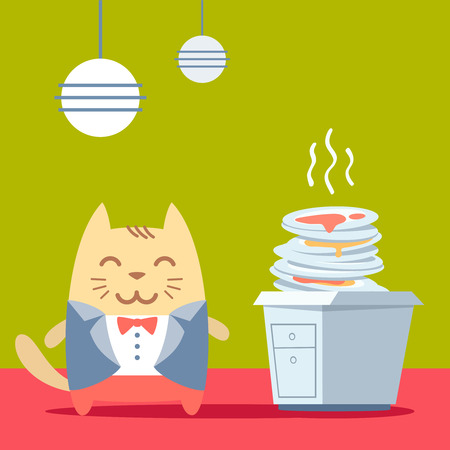 unwashed: Character groom in a wedding suit colorful flat. Cat male stands in the kitchen near a pile of dirty dishes Illustration