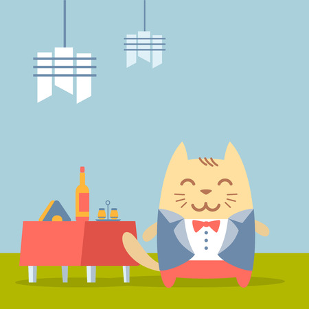 wedding table setting: Character groom in a wedding suit colorful flat. Cat male stands in a cafe near decorated table