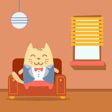 arm chair: Character groom in a wedding suit colorful flat.  Cat male sits on an arm  chair in the apartment Illustration