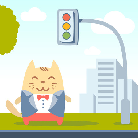 cat suit: Character groom in a wedding suit colorful flat. Cat male stands on a city street near the traffic lights Illustration
