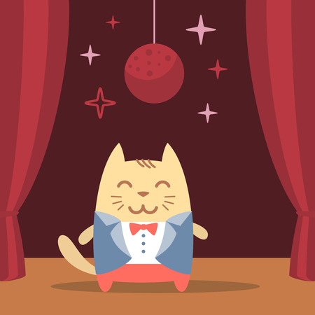 cat suit: Character groom in a wedding suit colorful flat. Cat male performs on stage