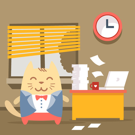 busy city: Character groom in a wedding suit colorful flat. Cat male stands indoors at the table with a laptop and piles of paper documents Illustration