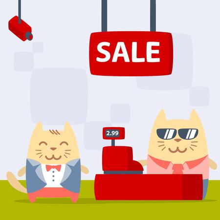 money cat: Novio del personaje en un colorido traje de boda plana. Masculino Gato se encuentra en la tienda cerca de la caja registradora