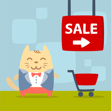 cat suit: Character groom in a wedding suit colorful flat. Cat male stands in the store near the shopping cart