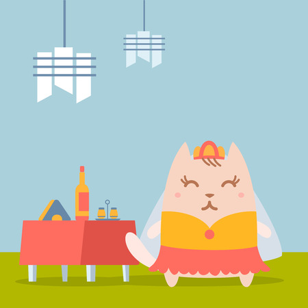 wedding table setting: Character bride in a wedding dress with veil colorful flat. Cat female stands in a cafe near decorated table Illustration