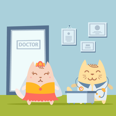 hospital gown: Character  bride in a wedding dress with veil colorful flat. Cat female stands the doctors office at the table Illustration