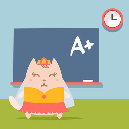 formalwear: Character bride in a wedding dress with veil colorful flat.  Cat fefemale stands near blackboard in classroom