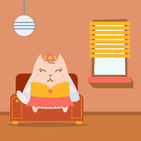 arm chair: Character bride in a wedding dress with veil colorful flat.  Cat female sits on an arm  chair in the apartment