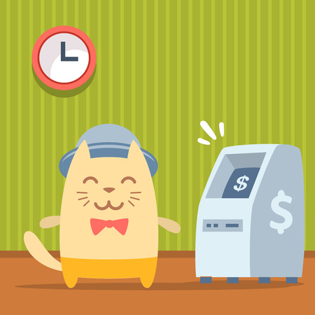 bankomat: Character  musician in costume, hat and bow tie  colorful flat. Cat male stands indoors near ATM