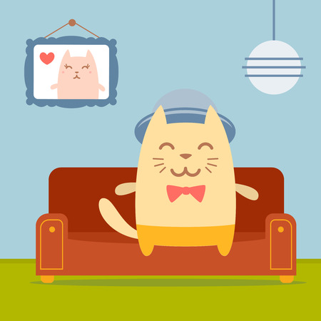 homely: Character musician in costume, hat and bow tie  colorful flat.  Cat male sits on a couch in a comfortable flat Illustration