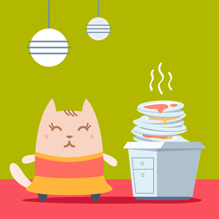 unwashed: Character dancer in dress colorful flat. Cat female stands in the kitchen near a pile of dirty dishes Illustration
