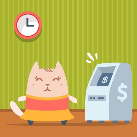 money cat: Bailarina Personaje en colorido vestido plana. Gato femenino destaca en el interior cerca de ATM