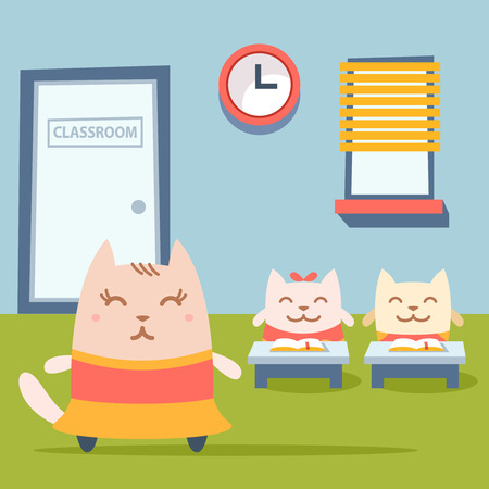 stage door: Character dancer in dress colorful flat. Cat female stands near desks in the classroom Illustration