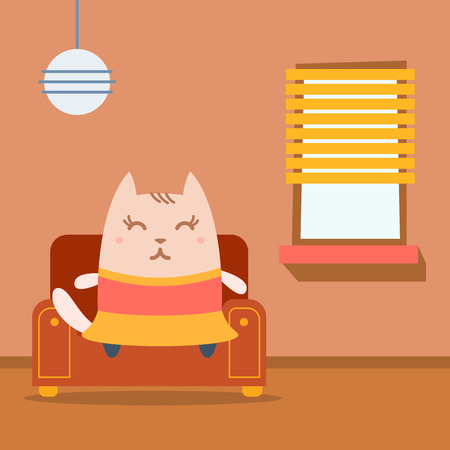 arm chair: Character dancer in dress colorful flat. Cat female sits on an arm chair in the apartment