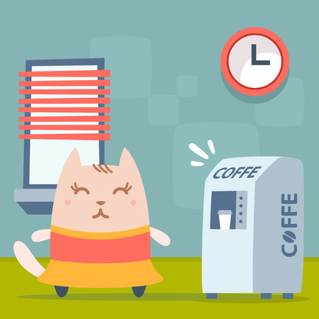 break in: Character dancer in dress colorful flat. Cat female stands indoors near the coffee machine, coffee break Illustration