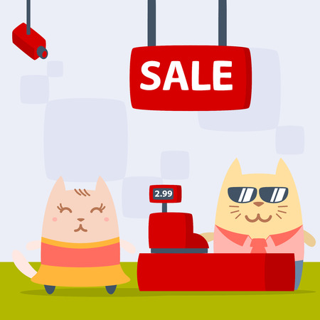 money cat: Character dancer in dress colorful flat. Cat female stands in the store near the cash register