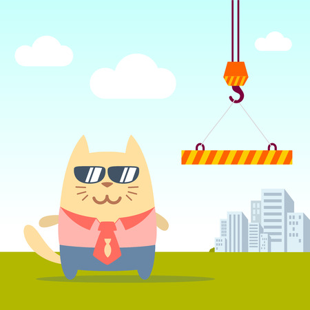 cat suit: Character businessman in a business suit with a tie and sunglasses colorful flat. Cat male stands near the crane