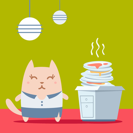 unwashed: Character businesswoman in woman business suit colorful flat. Cat female stands in the kitchen near a pile of dirty dishes