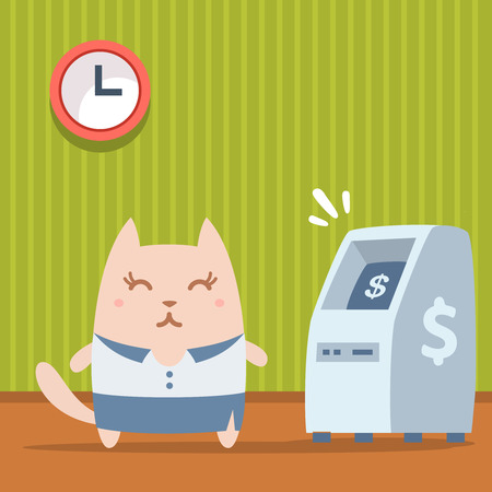 bankomat: Character  businesswoman in woman business suit colorful flat. Cat female stands indoors near ATM