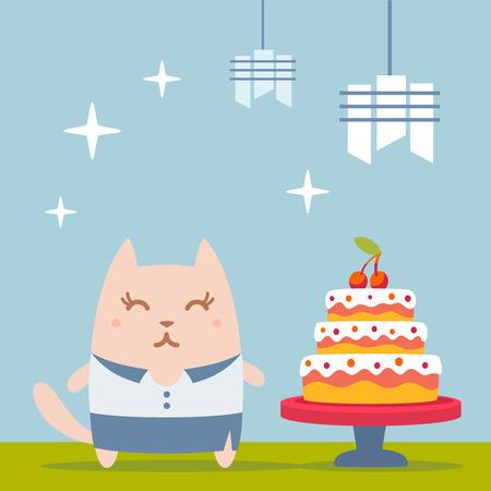 woman business suit: Businesswoman carattere nella donna tailleur colorato piatta. Cat femminile si trova vicino al grande bella torta Vettoriali