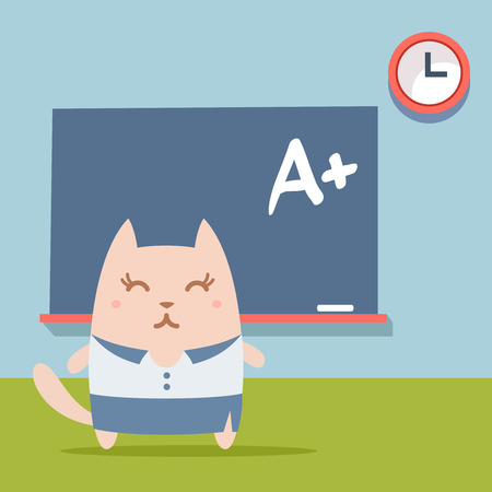 cat suit: Character businesswoman in woman business suit colorful flat.  Cat female stands near blackboard in classroom