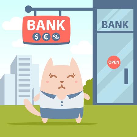 money cat: Empresaria de caracteres en traje de negocios mujer colorido plana. Femenino Gato se encuentra cerca de la entrada de un banco fuera Vectores