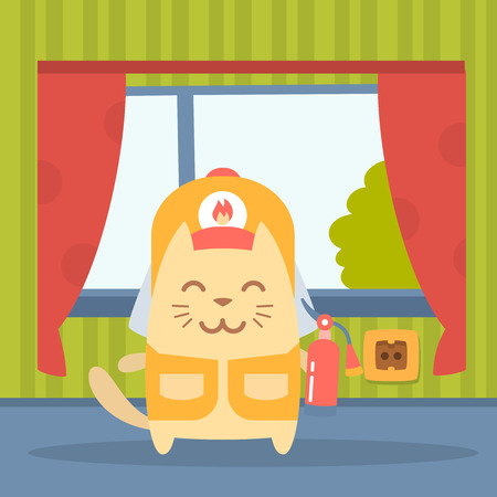 coveralls: Character firefighter in coveralls and helmet colorful flat. Cat male stands in a residential apartment near the window holding a fire extinguisher Illustration