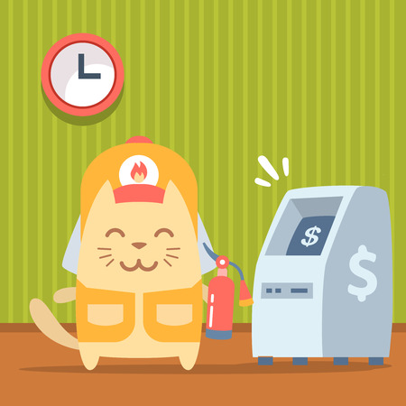 bankomat: Character  firefighter in coveralls and helmet colorful flat. Cat male stands indoors near ATM  holding a fire extinguisher Illustration