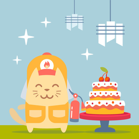 Character firefighter in coveralls and helmet colorful flat. Cat male stands near the big beautiful cake  holding a fire extinguisher Illustration