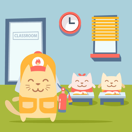 coveralls: Character firefighter in coveralls and helmet colorful flat. Cat male stands near desks in the classroom  holding a fire extinguisher Illustration